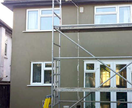 Exterior wall rendering on a house in Croydon