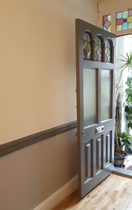 Painting and decorating of a front door and interior hallway in Croydon