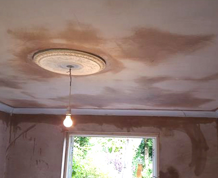 A freshly plastered ceiling and walls with ceiling rose in Croydon